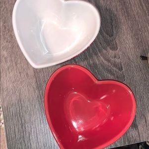 Two brand new heart glass bowls